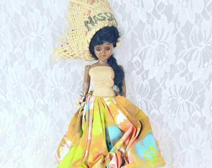 "Antique Ethnic Girl Nassau Bahamas 8"" Doll Mohair Sleepy Eyes Cloth Dress Molded Shoes Dress Me Doll 1950s Dolls of the World? Duchess?"
