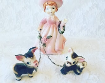 Vintage 1950s California Pottery Girl Figurine ~ She has Two Donkeys ~ Mules ~ Little Horses on Leashes ~ Leash Figurine