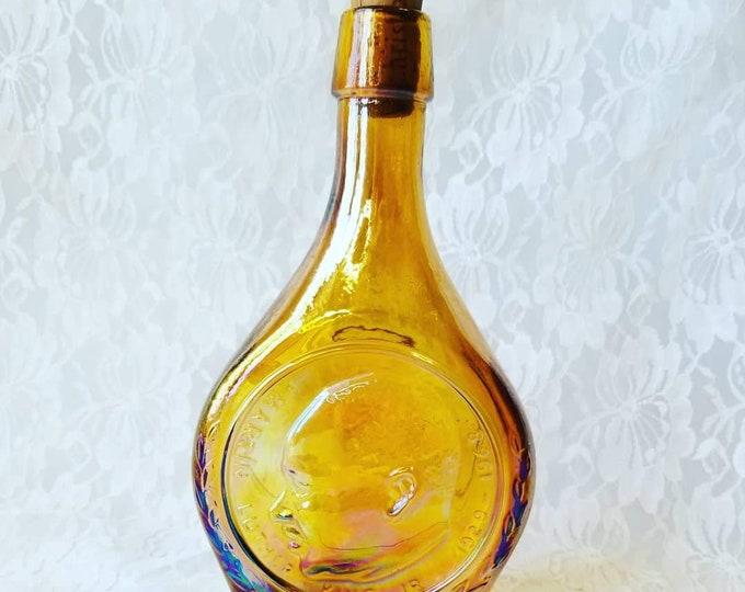 Vintage Martin Luther King Jr. Amber Glass Wheaton Bottle Decanter ~ Historical Bar Decor ~ Rare Collectible Decanter ~ Non-Violence Speech