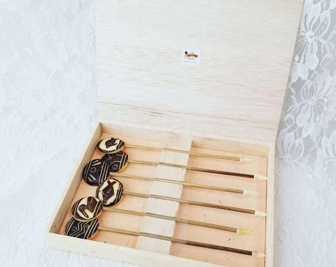 Set of Six (6) South American Carved Tagua Nut Swizzle Sticks ~ Made in Ecuador ~ Fair Trade ~ Eco Safe ~ Pro Pueblo Non Profit
