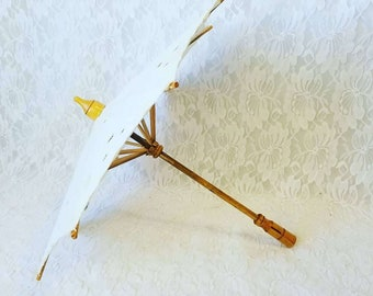 Battenburg Lace Wooden Parasol Umbrella  for French German Antique or Reproduction Dolls ~ Doll Display ~ Large Doll Parasol