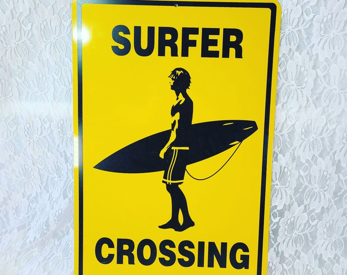 """SURFER CROSSING Large Yellow Metal Street Sign ~ Steel Hanging Beach Décor Sign for Surfers  ~ 18"""" Tall by 12"""" Wide"""