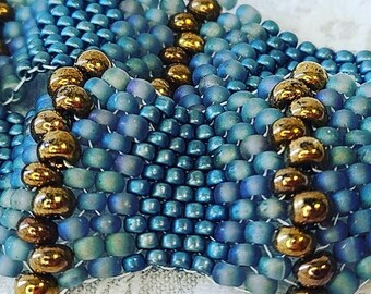 Handmade 3D Delica Bead and Seed Bead Cuff Bracelet ~ Blue and Gold ~ Infused with Love and Good Energy