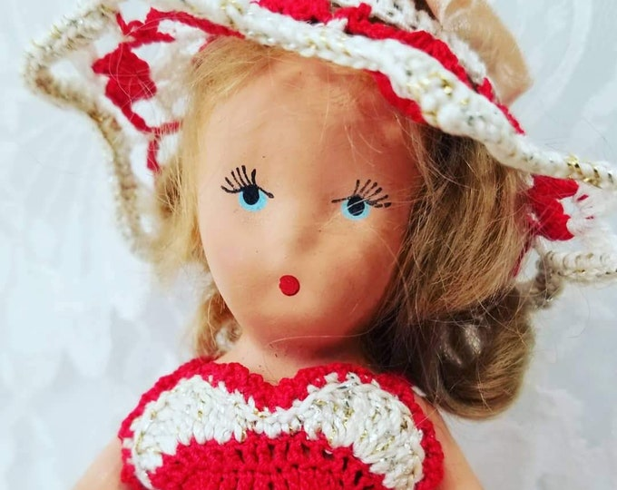 """Antique 1930s 7"""" Blonde Mohair Kerr & Hinz K + H Bisque STORYBOOK DOLL with OOAK Crochet Outfit - Panties, Petticoat, Dress and Hat"""
