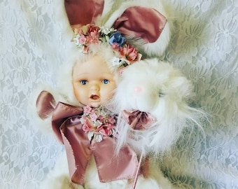 "Strange OOAK Doll Bunny Rabbit with Kitten Head on Stick ~ Easter Bunny ~ 21"" Anthropomorphic Rabbit ~ Easter Basket Filler"