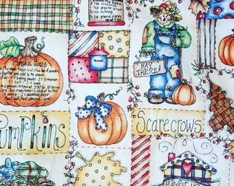 "Pumpkin Harvest Fabric w/Recipes by Dianna Marcum ~ Thanksgiving ~ 53"" length by 45"" width"