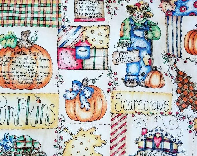 "Pumpkin Harvest Fabric w/Recipes by Dianna Marcum ~ Thanksgiving ~ 53"" length by 45"" width"