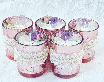 REDUCED Couples/Dating/Finding Love Spell Votive Ritual Candle ~ Spellcast Soy Wax Candle & Crystals ~ TRUE Love ~ Unity ~ Romance