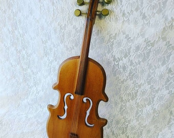 Vintage HUGE Life Size Violin Wall Hanging ~ Hand Carved Hand Painted ~ Wall Hanging ~ Strung! Knobs Turn! Music Lovers Gift