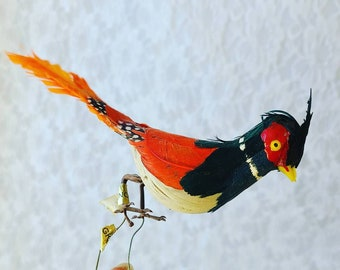 Mid Century Vintage Flocked Feathered Cardinal Bird Christmas Ornament Wire Feet Feathers Bird Ornaments ~ Craft Supplies