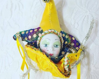 Vintage Gold Porcelain Doll Head Ornament Magnet ~ Harlequin Jester Clown French Mime ~ Mardi Gras ~ French Quarter