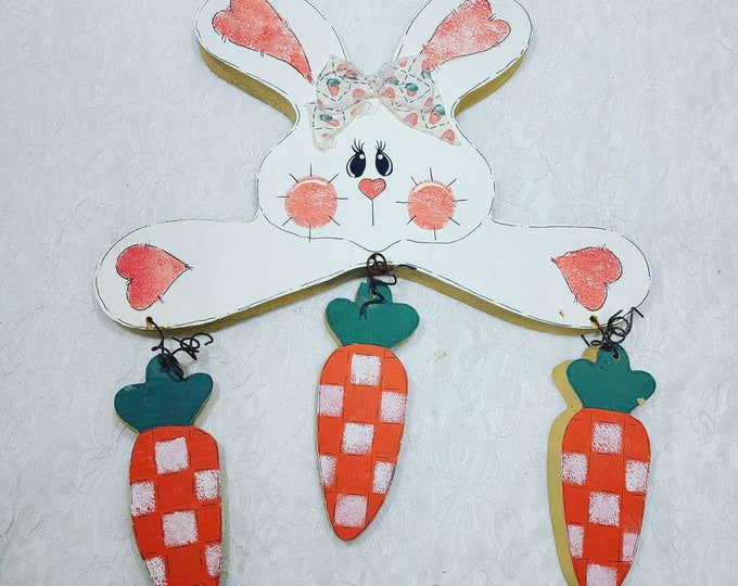 Easter Decorations Wooden Tole Painted Handmade Primitive Shabby Bunny with Carrots ~ Hanging Wood Ornament ~ OOAK Art