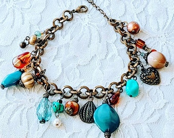"Fall Colors Charm Bracelet ~ Vintage Antiqued Brass Teal Blue Gold Bracelet 7.5"" ~ Retro 1990s Vintage Fashion Charm Bracelet"