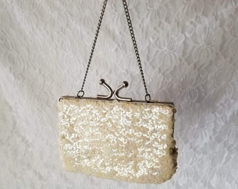 Vintage 1950's Iridescent Sequin Small Clutch Purse Handbag ~ Rainbow Sheen on White Sequins