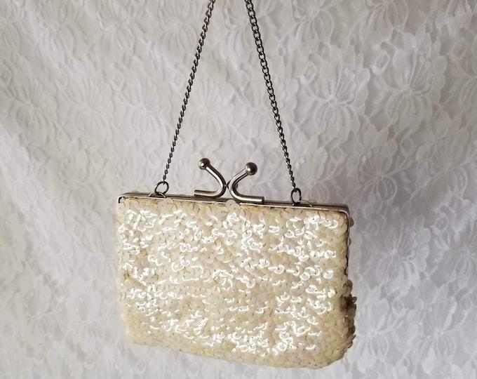 Vintage 1950's Iridescent Sequin Small Clutch Purse Handbag ~ Rainbow Sheen on White Sequins