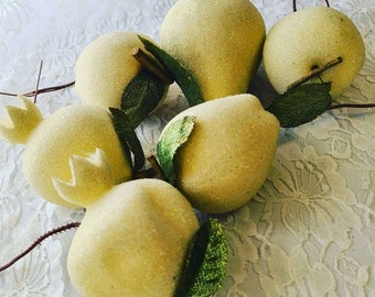 Vintage Victorian Sugared Fruit Floral Picks ~ Lot of Six (6) Life Size Fruits ~ Beige/Cream/White Beaded Fruits ~ Crafting and Decorating