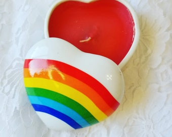 Vintage 1980's Rainbow Heart Shaped Porcelain Lidded Candle ~ Gay Gift ~ LGBTQ