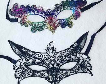Venetian Lace Carnival Mask ~ Harlequin Mardi Gras Halloween ~ Stiffened Real Lace Masks ~ Fox or Rainbow