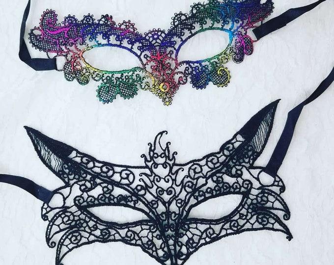 Venetian Lace Carnival Mask ~ Harlequin Mardi Gras Halloween ~ Stiffened Real Lace Masks ~ Fox or Rainbow
