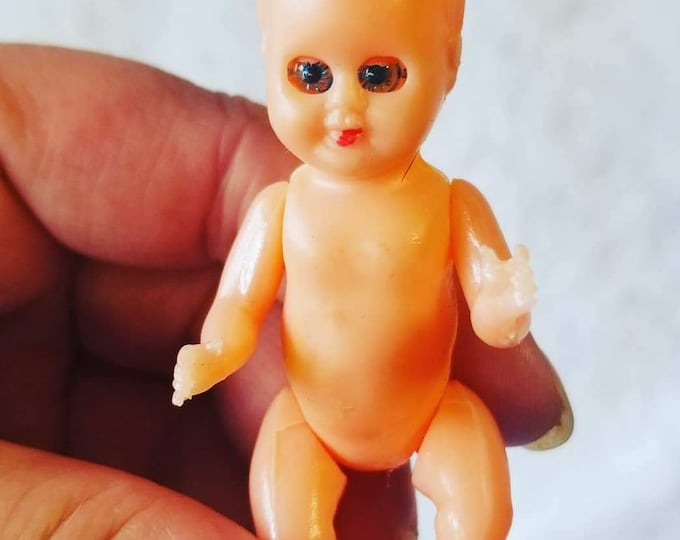 """Antique Celluloid Infant 3"""" Baby Doll with Movable Parts, Sleepy Eyes ~ Dollhouse Miniature Size ~ Creepy ~ Crafts? Halloween?"""