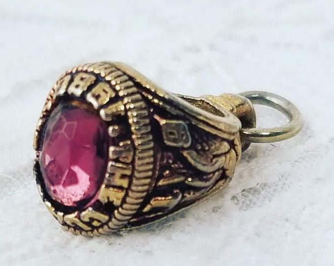 Class Ring 1986 Charm for Charm Bracelet ~ Gold Plated with Ruby ~ Miniature Class Ring Pendant or Charm