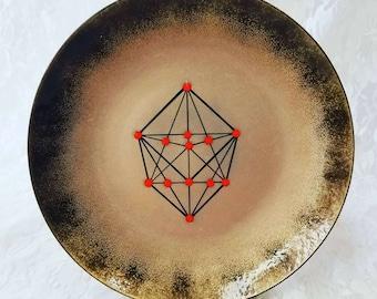 """Mid Century Bovano Enamel Copper """"The Copper Unit Cell""""  Plate Dish ~ Modernist Retro ~ Anaconda Company 1968"""