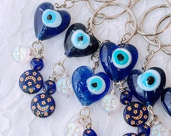 One (1) Evil Eye Amulet Keychain ~ Hamsa Hand, Hamesh, Hamesh Hand, Khamsa, and/or Hand of Fatima ~ Evil Eye Protection Amulet