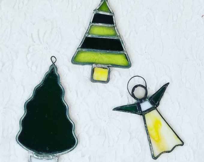 Set of Three (3) Christmas Ornaments ~ Vintage Stained Glass Suncatchers ~ Suncatcher ~ Handmade