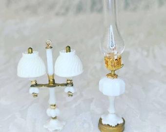 Set of 2 Dollhouse Miniature Lamps for Dollhouse ~ 1:12 Scale ~ Vintage Dollhouse Furniture ~ Victorian Decor ~ 1970s