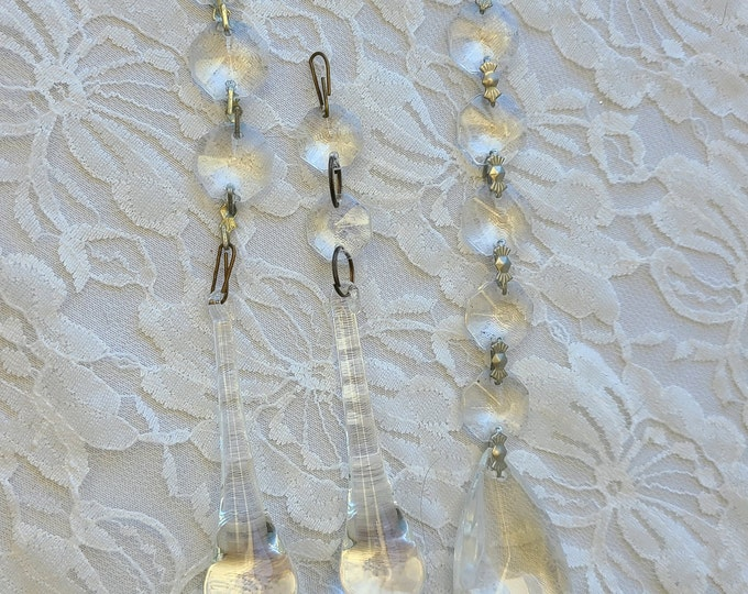 Set of 3 Strands of Rainbow-Making Crystal Suncatchers ~ Lead Crystal ~ Teardrop and Raindrop Shaped ~ Deconstructed Chandelier