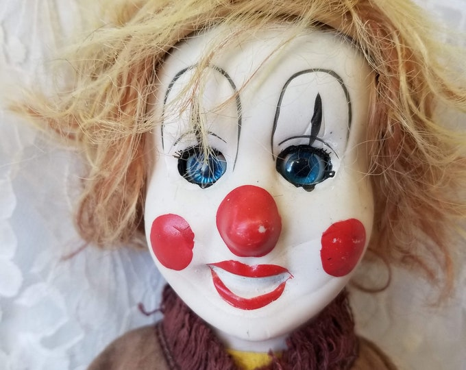 """Roger Haunted Doll ~ 20"""" Albert Price Harlequin Clown Jester Mime Porcelain Doll ~ Paranormal ~ Died in London ~ Energy Vampire ~ Needy"""