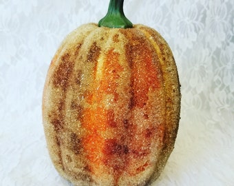 "Very Old Pumpkin ~ Victorian Sugared Fruit ~ Glass Beaded Fruit ~ 8"" Tall and 6"" Wide ~ Halloween ~ Thanksgiving"