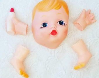 """Vinyl Doll Parts ~ For Doll 12-16"""" ~ Doll Making Set ~ Limbs, and Face Mask ONLY ~ DIY Doll Making ~ Doll Parts"""