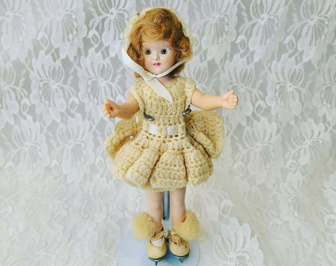 "Ice Skating Ice Skater OOAK Vintage Old Doll 8"" Hard Plastic 1950s ~ Celluloid ~ Sleepy Eye Doll ~ Crochet Outfit ~ Mohair Wig"