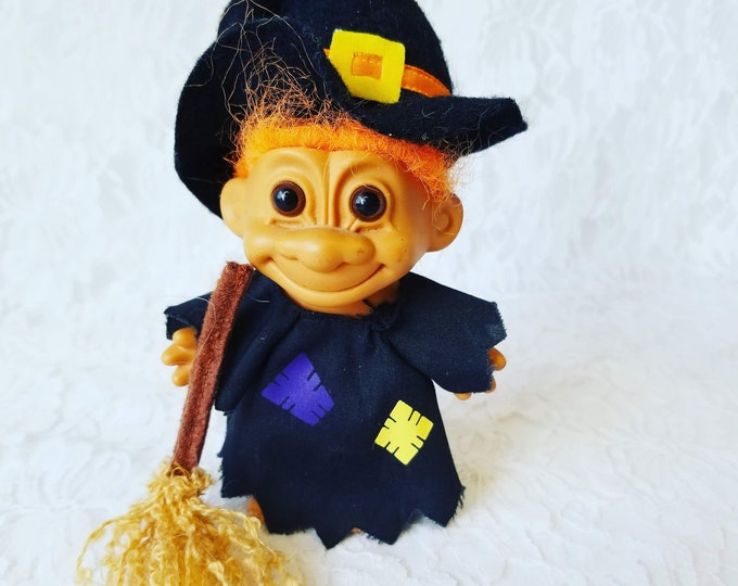 "Vintage Halloween Witch 5"" Troll Doll ~ Russ Brand Troll ~ Collectible Troll ~ Halloween Decor Decoration ~ Witch Doll"
