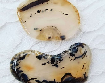 Set of Two (2) Dendritic Agate Crystals ~ Perfect for Cabbing or Lapidary Work ~ Jewelry Making ~ Healing Crystal ~ Reiki Energy
