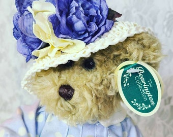 "Adorable Bearington Collection Teddy Bear Plush 10"" W/Tags ~ Purple Flowers on Straw hat"