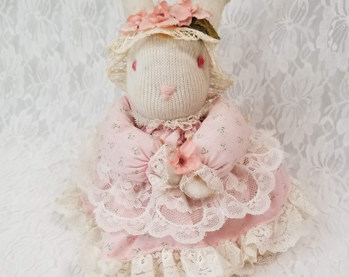 "Handmade 1970s 10""  OOAK Cloth Bunny Rabbit Hare Girl Doll ~ Made from Socks ~ Textile Rag Doll"