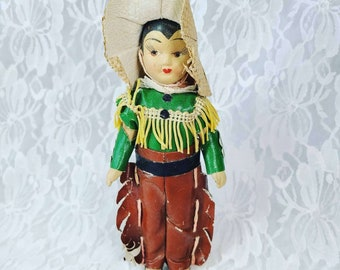 "Rare Antique Doll 7"" Composition Cowboy ~ Mid Century FIND! Jointed Arms and Legs Mint Condition! Estate Find!"