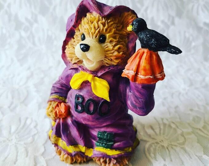 "Vintage Little Witch Bear with a Raven Halloween Resin Sculpture 4.25"" Figurine ~ Halloween Decor ~ Fall Decor ~ Decoration"