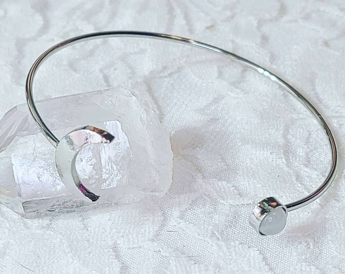 Silver Crescent Moon with Moonstone Partial Cuff Bangle Bracelet ~ Silvertone ~ Gift for Friend ~ Witchy Things