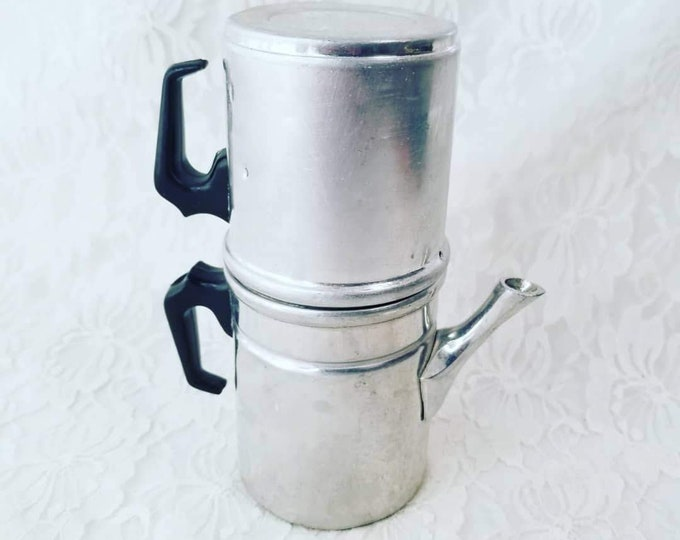 Vintage Aluminum Travel Kettle for Coffee or Tea ~ Made in Italy ~ Perfect for Camping ~ Bug Out Gear ~ 3 Parts, Stackable