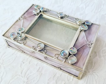 Vintage Unique Purple OOAK Stained Glass Soldered Box ~ Photo Frame Box ~ Witches Box ~ Altar Box ~ Dream Box