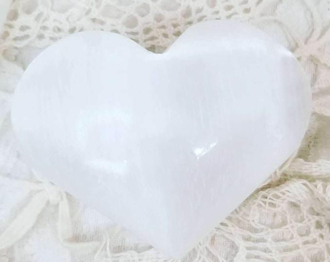 """ONE Polished Smooth Moroccan Selenite Mini Hearts 2"""" by 2"""" ~ Palm Stones ~ Worry Stones ~ Crystal for Healing Meditation Reiki"""
