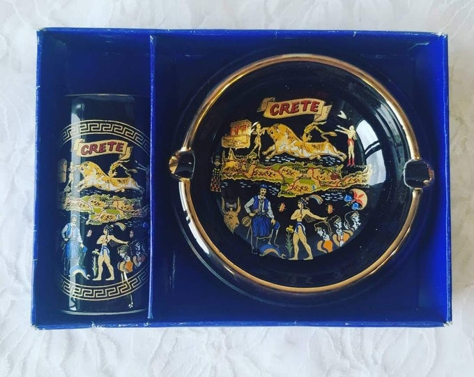 Mid Century Porcelain Set ~ Ashtray and Cigarette Holder with 24kt Gold Trim ~ From Crete ~ Original Box