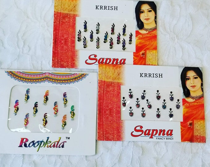 3 Packs Long Face Bindi Stickers ~ High Quality Bridal Bindis ~ Colorful India Bindis ~ Bindis Pack