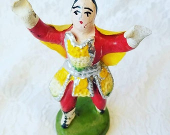 CLEARANCE Mexican Wrestling Nacho Libre Figurine ~ Possibly Paper Mache and/or Clay ~ Made in Mexico ~ Rare and HTF Wrestler Figurine