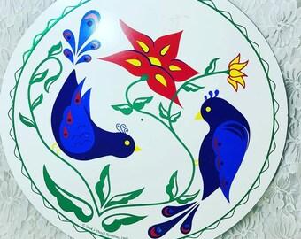 "Vintage 1995 ZOOK'S DUTCH NOVELTIES Hex Sign ~ 15.5"" Song Birds - Friendship ~ Hand-Painted Wall Hanging Art"