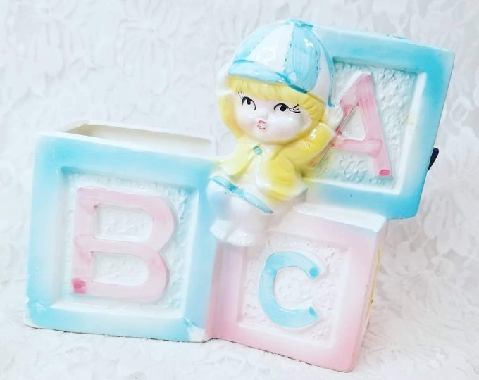 Vintage Ruben's 1950s Gender Neutral Baby Building Blocks ABC's Music Box Planter ~ Perfect Gift for New Baby ~ Music Box