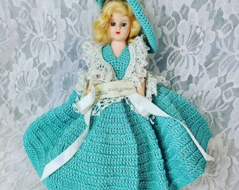 "Antique 8"" Doll Mohair ~ Sleepy Eyes ~ Crochet Dress ~ Missing a Shoe ~ Dress Me Doll ~ 1950s ""Miss Williamsburg"" Doll ~ Sold As-Is"